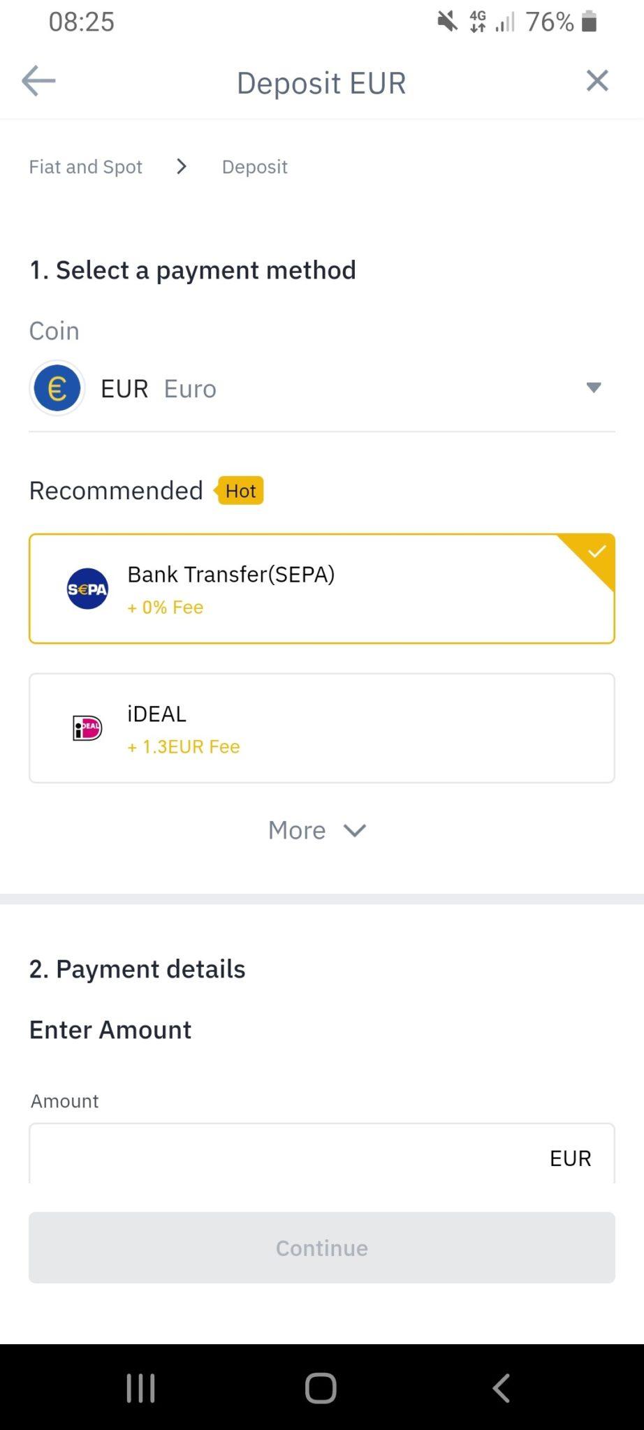 SEPA Euro Einzahlung auf Binance Schritt 1